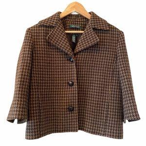 RALPH LAUREN Cropped Houndstooth Wool Jacket 14